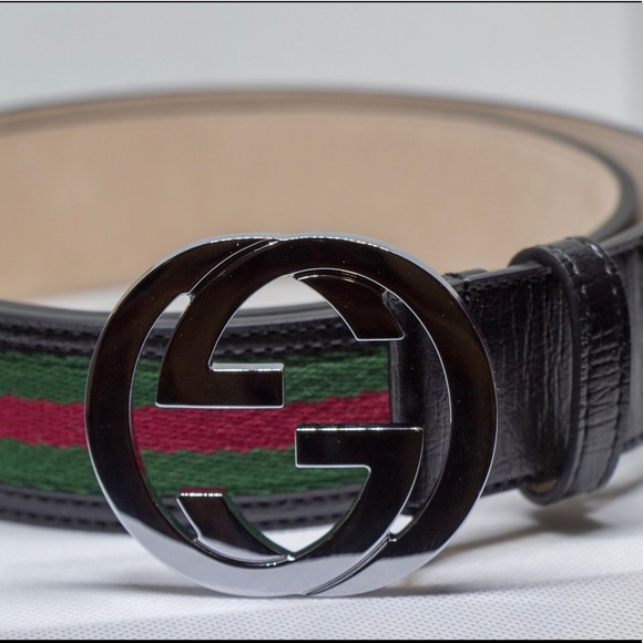 ce566260d Gucci Black Leather Signature Web Black Belt. Boutique. Gucci. $300 $495.  Size